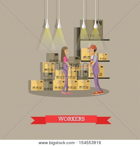 Logistic and delivery service concept banner. Warehouse workers. Vector illustration in flat cartoon style design. Delivery man working in warehouse and shipping products.