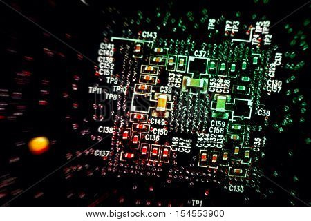 Abstract Close Up Mother Board Background Colored In Red, Yellow, Green.