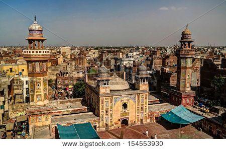 Panorama of Wazir Khan Mosque Lahore Pakistan