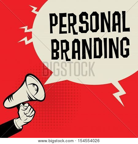 Megaphone Hand business concept with text Personal Branding vector illustration