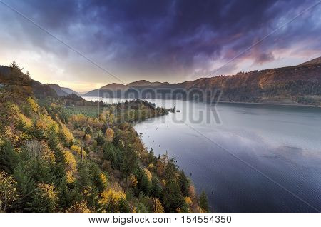 Stormy Sunset over Columbia River Gorge from Ruthton Park Lookout in Fall Season