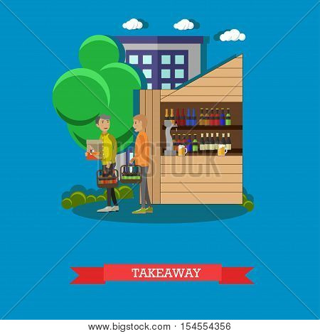 Guys ordered beer takeaway. Brewery and beer restaurant concept vector illustration.