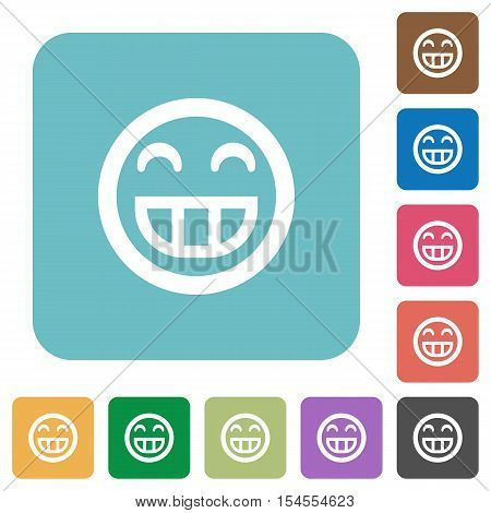 Laughing emoticon white flat icons on color rounded square backgrounds