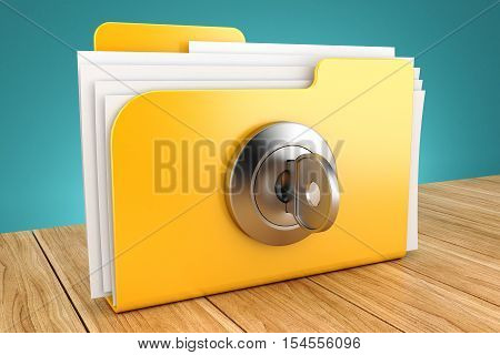 folder with the lock on a wooden table 3d