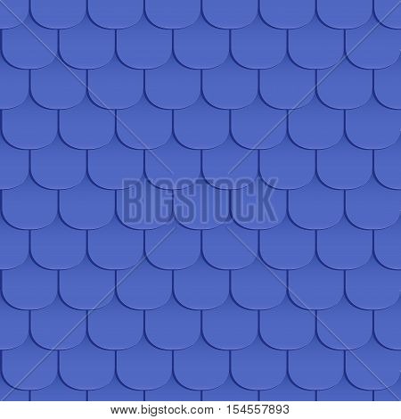 Shingles roof seamless pattern. Blue color. Classic style. Vector illustration