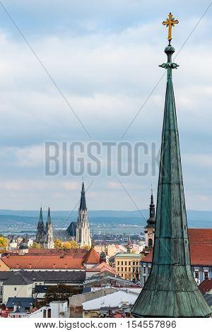 Air view on the churches of Olomouc city Czech Republic. Europe.
