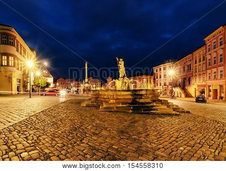 Lower Square of Olomouc in the evening Czech Republic. Europe.