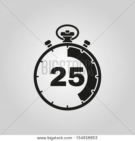 The 25 seconds, minutes stopwatch icon. Clock and watch, timer, countdown symbol. UI. Web. Logo. Sign. Flat design. App. Stock vector