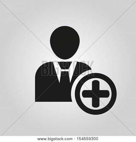 The add user icon. Add friend and avatar symbol. UI. Web. Logo. Sign. Flat design. App.Stock vector