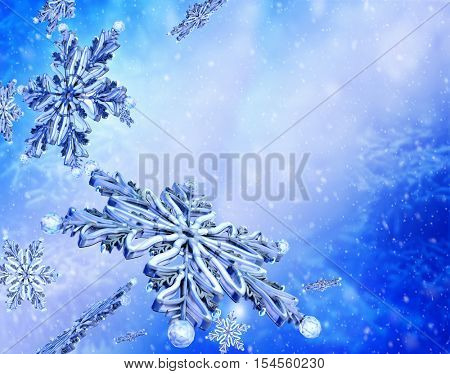 Flying group snowflake on blue snow background. Group of flying snowflakes on clear blue winter sky.