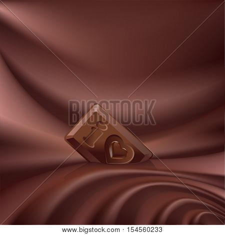 Vector wavy choco background melted chocolate and a small piece of chocolate