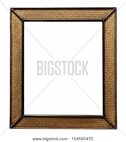 Rattan wicker wooden picture frame, rattan wicker wooden wall mirror decorate, isolated on white background