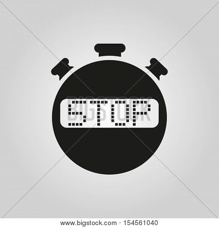 The stop stopwatch icon. Clock and watch, timer, countdown symbol. UI. Web. Logo. Sign. Flat design. App. Stock vector