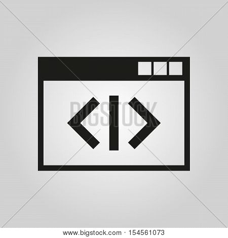 The coding icon. WWW and browser, development, seo symbol. UI. Web. Logo. Sign. Flat design. App. Stock vector