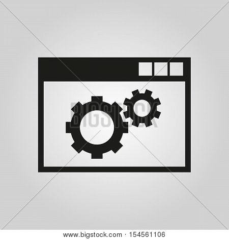The website optimization icon. WWW and browser, development, seo symbol. UI. Web. Logo. Sign. Flat design. App. Stock vector