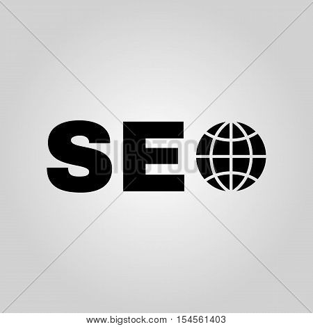 The SEO icon. WWW and browser, development symbol. UI. Web. Logo. Sign. Flat design. App. Stock vector