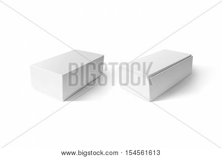 White cardboard phone box set mockup, side view, clipping path. Clear blank rectangular carton shoe crate mock up isolated. Plain closed package template isolated. Smartphone store product pack.