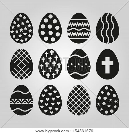 The egg of 12 icon. Easter symbol. UI. Web. Logo. Sign. Flat design. App. Stock vector