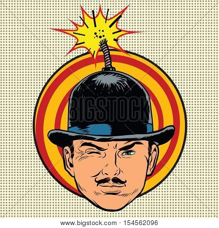 Spy terrorist in the hat bomb wick, pop art retro vector
