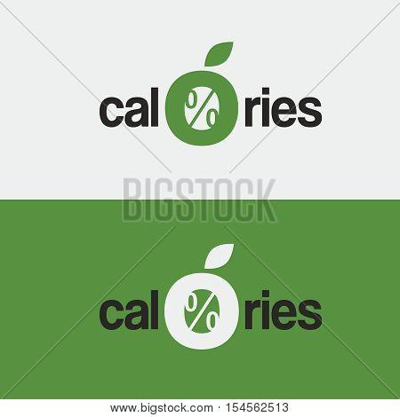 vector logo, icon, zero calories a stylized apple