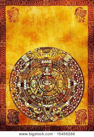 Maya calendar on ancient wall