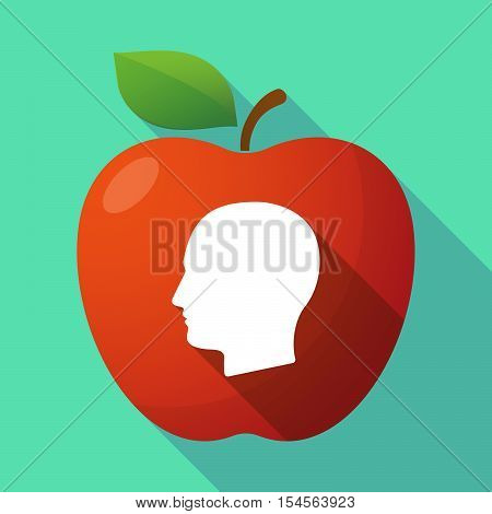 Long Shadow Apple Fruit Icon With A Female Head