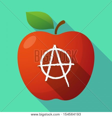 Long Shadow Apple Fruit Icon With An Anarchy Sign