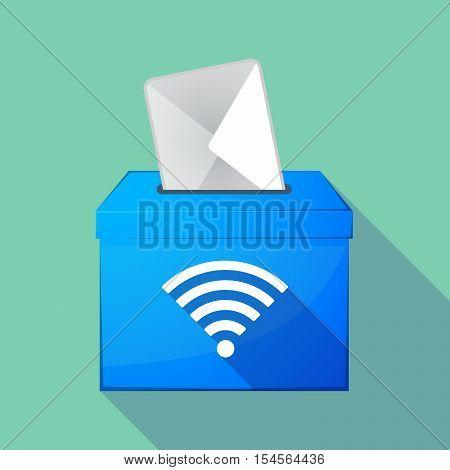 Long Shadow Ballot Box With A Radio Signal Sign