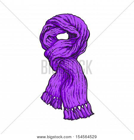 Bright purple slip knotted winter knitted scarf with tassels, sketch style vector illustrations isolated on white background. Hand drawn fluffy woolen scarf tied in slip knot, winter accessory