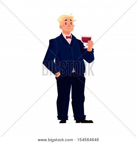 Young, happy fat man in business suit with a glass of wine, cartoon vector illustration isolated on white background. Overweight, fat man in tuxedo enjoying life and having fun