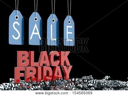 Black Friday Sign With Blue Sale Lable And Discounts Percentage. 3D Illustration.