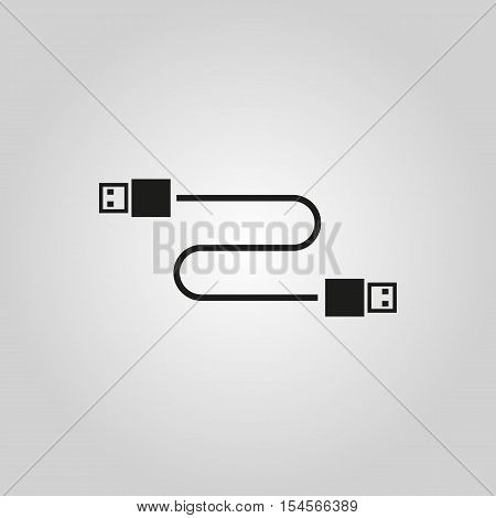 The cable usb icon. Transfer and connection, data symbol. UI. Web. Logo. Sign. Flat design. App. Stock vector