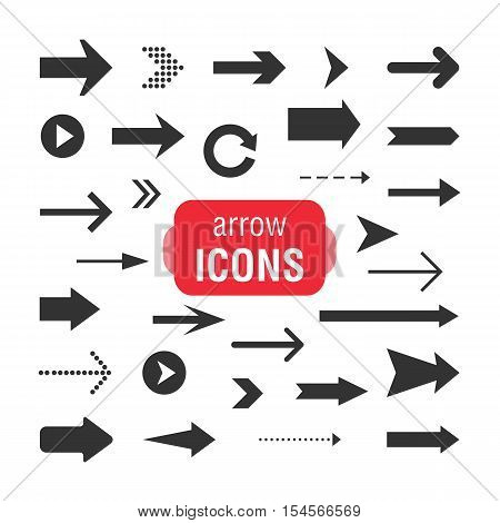 Arrows set isolated on a white background. Arrow icon. Vector design elements