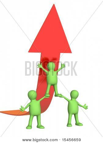 Three puppets and arrow of red color. Isolated over white