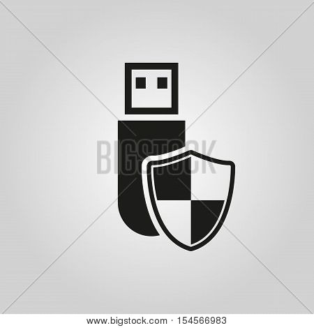The data protection icon. Transfer and connection, data symbol. UI. Web. Logo. Sign. Flat design. App. Stock vector