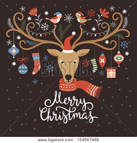 Christmas card, Christmas deer on black background
