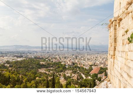 Temple of Hephaestus and Stoa of Attalos viewed from the Acropolis of AThens in Greece