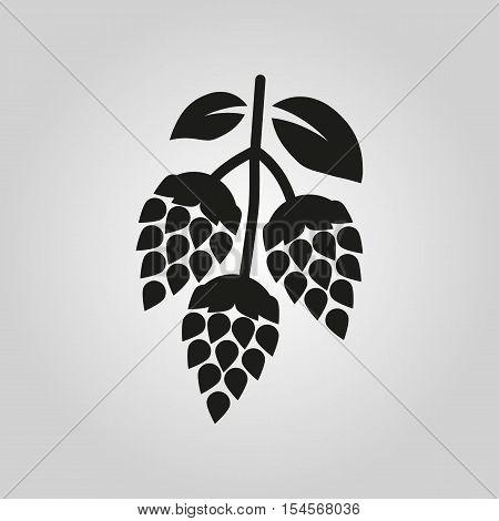 Hops icon. Beer and hop symbol. UI. Web. Logo. Sign. Flat design. App.Stock vector