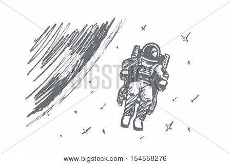 Vector hand drawn Astronaut concept sketch. Astronaut in special suit floating in outer space