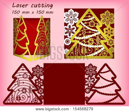 Laser cutting three layers template with snowflakes, christmas tree and christmas tree toys. For greeting cards, invitations. Size 150 mm x 150 mm. Vector illustration.