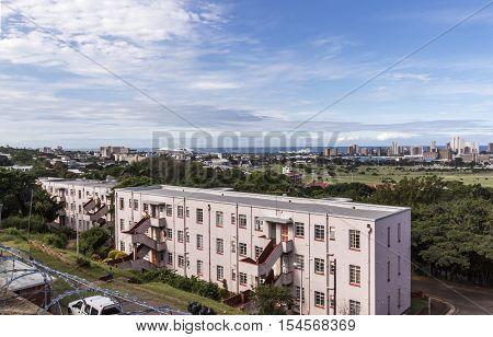 Above View Of Durban City Skyline Landscape