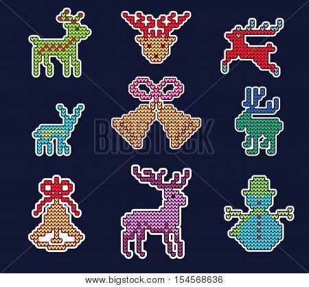 Vector Illustration of Ugly sweater Xmas Patches elements for Design, Website, background, Banner. Merry Christmas Knitted Retro Stickers with Deer, snowflake bell, Template