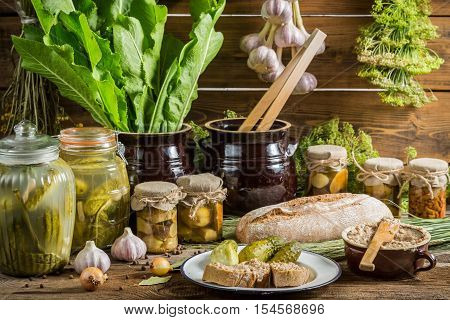Pantry full of flavor for winter on old wooden table