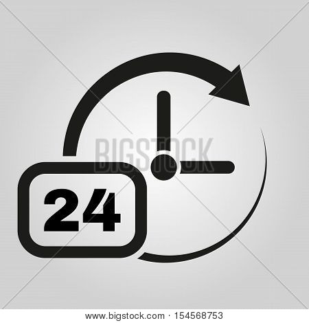 Time icon. Time and watch, timer, 24 hours symbol. UI. Web. Logo. Sign. Flat design. App. Stock vector