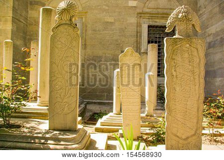 Tomb stones  of the tombs in an Ottoman time graveyard