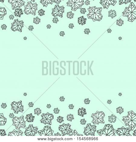 Horizontal seamless border frame. Winter polygonal trendy style snowflakes on mint green background. Winter holidays snowfall concept. Vector illustration stock vector.