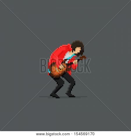 Pixel art guy, funky guitar player dancing with guitar