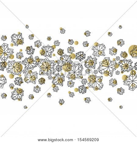 Horizontal seamless border design. Winter polygonal trendy style snowflakes on white gold background. Winter holidays snowfall concept. Vector illustration stock vector.