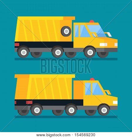 Yellow mining truck. Construction dumper transport vector flat icon.