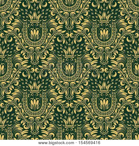 Damask seamless pattern repeating background. Gold green floral ornament with U letter and crown in baroque style. Antique golden repeatable wallpaper.